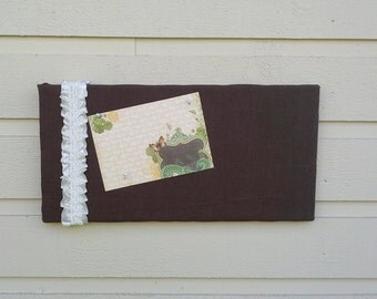 Pinboard, pretty chocolate brown 100 % Linen Bulletin Board with ruffled ribbon and lace for your Photos and notes, pin or tack board