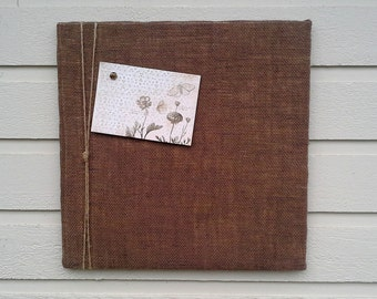 Bulletin or PinBoard made from chocolate Burlap with a nautical twine detail, for your kitchen, cabin or office, photos, memos, notes