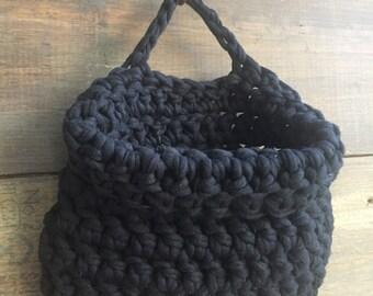Small Black Crochet Banging Bag