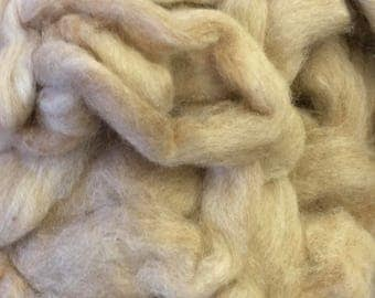 Prime Natural Fawn Alpaca Roving Blended with Silk 80/20 per ounce