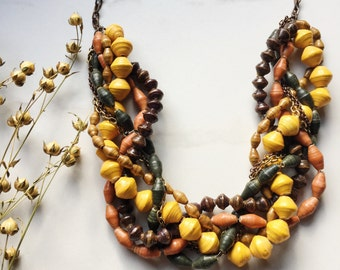Statement necklace. Layer Necklace. Mustard Yellow Necklace. Green Necklace. Tan Necklace. Multi Colored Necklace. READY to SHIP JEWELRY