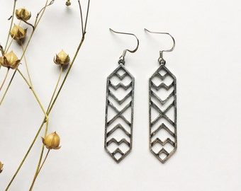 Geometric silver earrings. Silver earrings. Silver Bar earrings. Geometric earrings. chevron earrings. Sela Designs. READY TO SHIP. Stocking