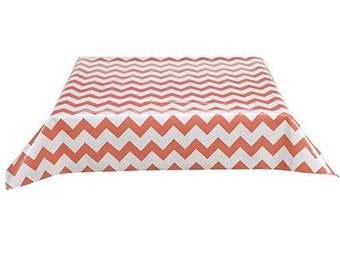 48x48 Chevron Coral Oilcloth Tablecloth with Simple Hem