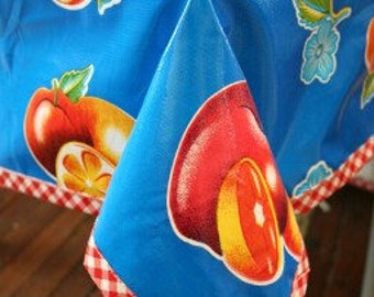 Rectangle Sliced Fruit Blue Oilcloth Tablecloth with Red Gingham Trim