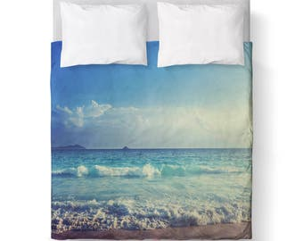 Beach Ocean Water Wave Blue Duvet Cover/ Bedding/ Comforter Cover/ Twin, Queen, King/ Made To Order/ Ocean, Sky, Beach, Blue, Duvet Cover