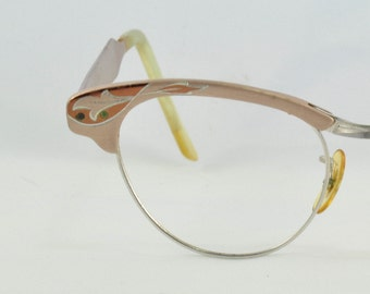 Vintage Cat Eye Glasses, Browline Style, Universal, Two Toned Bronze with Etching, 1950s, 1960s