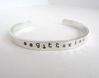 Sagittarius Bracelet Aluminum Cuff Zodiac Jewelry Sagittarius Birthday Gift December January Birthday