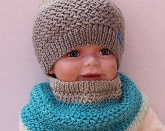 Hand Knit Baby Boy Hat and Cowl Set. Baby Boy Blue and Brown Beanie and Cowl Set. Knit Boy Hat Cowl.