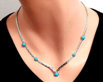 Sarah Coventry Choker Necklace, Silver with Turquoise Colored Sets, 17-18inch