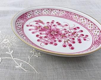 Small Porcelain Trinket Dish Pin Dish Herend Pink China Trinket / Pin Tray