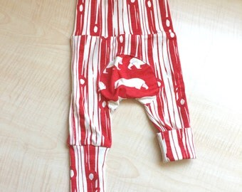 Red Bark Squishaloones - Organic Knit - Grow with Me - Maxaloones - Cloth Diaper Pants - Legging - Baby Pants - Newborn to 6 Months
