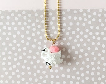 Animal Necklace for Little Girls, Swan, Charm Necklace, giddyupandgrow
