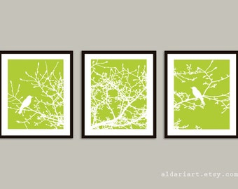 Birds on Magnolia Tree Branches Prints - Set of 3 - Birds on Branches Wall Art - Tree Triptych - Green Wall Art - Greenery Color Decor