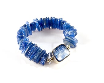 LP 1369 Sliced, Oval, Blue Kyanite, Heishi Style Bracelet