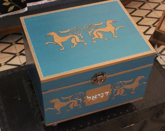 keepsake chest, memory box, treasure chest, decorative box, wedding gift, royal blue chest, decorative chest, hand painted chest.