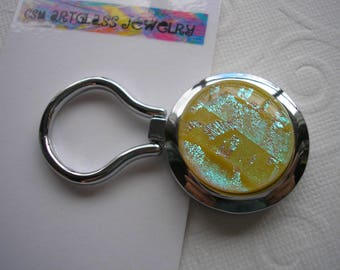 Magnetic Brooch Cheerful Buttercup with Aqua Nurses Badge Holder Dichroic Glass Kiln Fired Yellow Jewelry Convert to Pendant Eyeglass Keeper