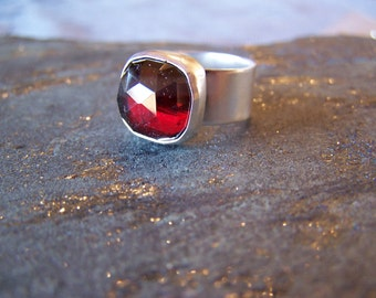 Stunning Red Garnet Ring in Sterling Silver, MADE TO ORDER