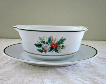 Vintage Noritake Holly 2228  Gravy Boat with Attached Saucer, Japan - Noritake Christmas China - Collectable - Holiday Gravy Boat - Bobann23