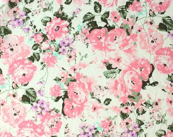 Off White Pink Purple and Green Floral Brushed Poly Spandex Knit, 1 yard
