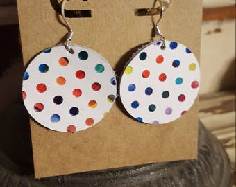 Leather Earrings, Rainbow, Polka Dots, Statement Earrings, 100% Leather, Circle, Lightweight