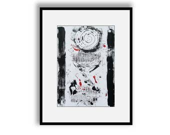 Modern Abstract Art Black White Red Simple Minimalist Monochrome Hand Pulled Collagraph A4 Size Monoprint Contemporary