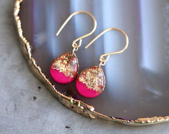 hot pink and gold leaf teardrop earrings on 14 karat gold fill ear wires