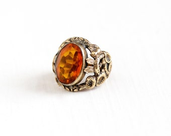Vintage Art Deco Simulated Citrine Floral Snake Ring - 1930s Size 4 1/2 Orange Oval Stone Figural Serpent & Flower Costume Statement Jewelry