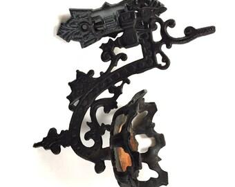 Antique Cast Iron Victorian Oil Lamp Bracket Holder Plant Candle Holder