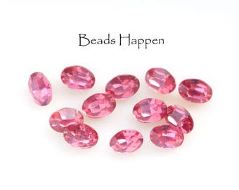 Vintage 7x5mm Rose Oval Glass Stones from Czechoslovakia, Rose Pink Glass Jewels, 7x5mm ovals, Pink Ovals, Rose Ovals, Quantity 10