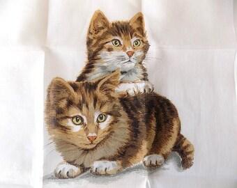 ALBA Switzerland Handkerchief with Kittens Unused with Label