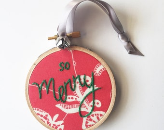 Christmas Tree Ornament. Hand Embroidery Hoop. Merry Christmas Decoration. Embroidered Hoop. Stitched Ornament with Text. One of a Kind