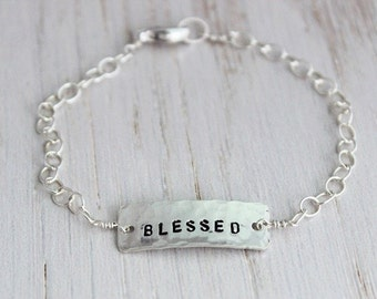 blessed inspirational stamped sterling silver gift for her, custom stamped word bracelet, personalized faith jewelry, religious gift