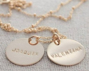 stamped names mothers necklace | two hand stamped names | 14k gold filled name tags | custom name pendants | name tags | kids names