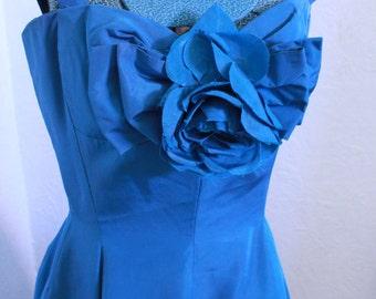 Vintage 1950s Blue Tafetta Suzy Perette Party Dress Gown Prom