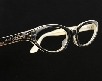 vintage 1950s black CATEYE glasses with rhinestones and gold etching