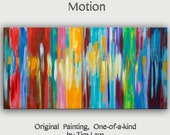 "Abstract Painting 48"" Canvas  art,  free dynamic Brushwork, Color Rethym, fresh eye-catching focal point,  by Tim Lam"