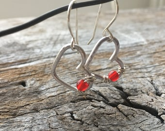 Hammered Rustic Heart Sterling Silver Dangle Earrings Wire Wrapped Red Bead