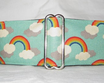 Rainbow Martingale Dog Collar - 1.5 or 2 Inch - colorul fun clouds sky green orange blue yellow