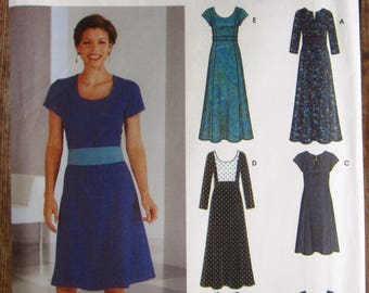 Easy to Sew Misses Dress in Two Lengths and Sleeve Variations 6 Styles Sizes 4 6 8 10 Simplicity Pattern 5758 UNCUT