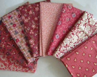 8 Assorted Pinks Mauves Cotton Fabric Scraps, Fat Sixteenths, Stash Builder, Destash, Quilting, Sewing