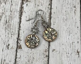 Daffodil Floral Earrings on copper, flowers, spring season, steampunk jewelry