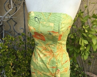 SALE 35% OFF Vintage 1970s 1980s Liza Badoria Couture strapless pinup wiggle Hawaiian cocktail dress size S