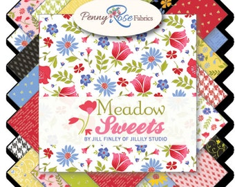 """Meadow Sweets 5"""" Squares Charm Pack by Jill Finley for Penny Rose Fabrics, 21 pieces"""