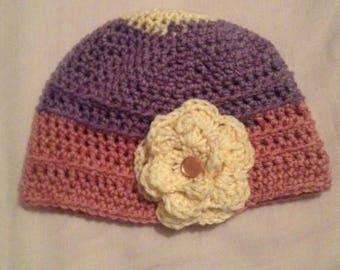 Crochet Hat girls, toddler flower crochet hat crochet beanie