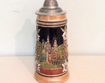 CASTLES in Germany! Vintage Beer Stein Features Three Castles with Gorgeous Edelweiss Flowers!