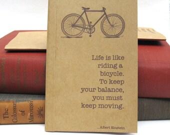 Albert Einstein's Life is Like Riding a Bike Kraft Paper Notebook / Journal / Sketchpad