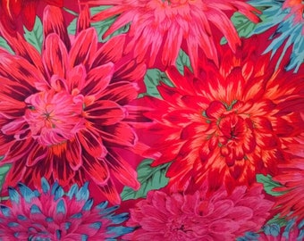 Cotton Fabric, 1/2 Yard, Floral, Red, Orange, Fushia, Blue, Large Flowers, Kaffe Fassett, Quilt, Quilting, Pillow, Sewing, Crafts, Bold