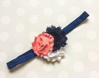 Navy, White and Coral Blush Headband