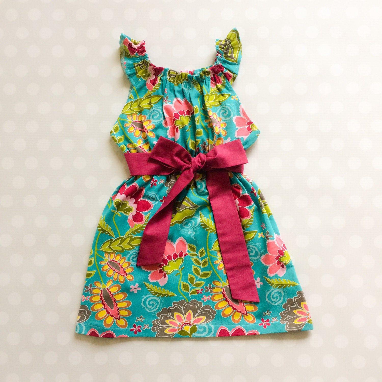 Turquoise Floral Dress Sleeveless Dress Girls Spring Dress