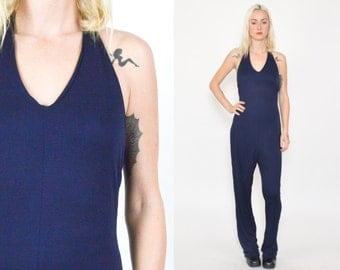 1990'S BLUE PANTSUIT One Piece. V Neckline. BACKLESS. Flared Leg. Vintage 90's Halter One Piece. Navy Blue. Size Small Medium